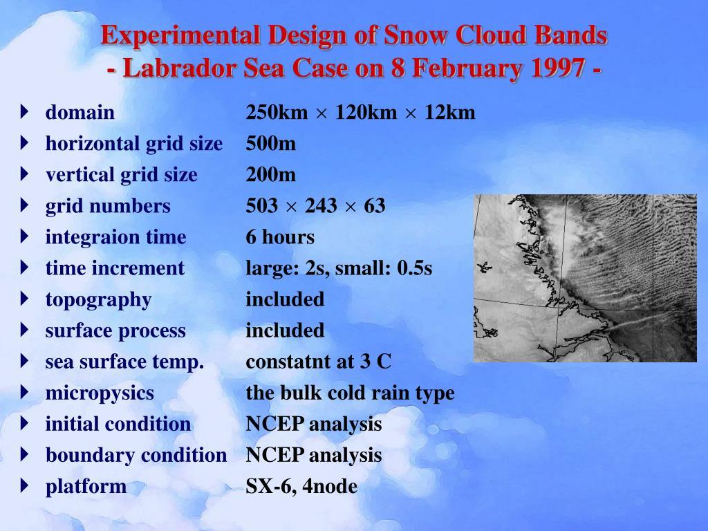 Experimental Design of Snow Cloud Bands