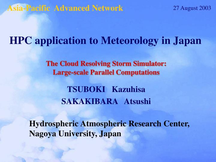 The cloud resolving storm simulator large scale parallel computations