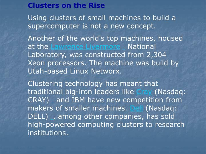 Clusters on the Rise