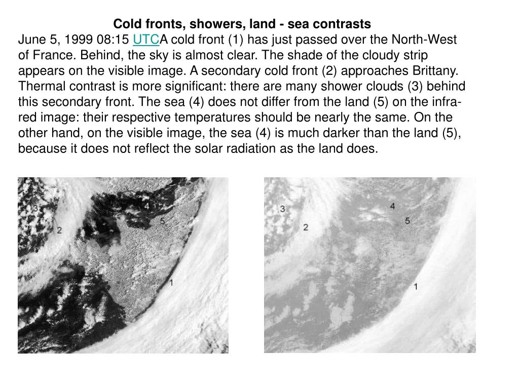 Cold fronts, showers, land - sea contrasts