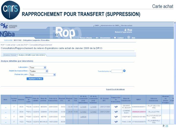 RAPPROCHEMENT POUR TRANSFERT (SUPPRESSION)