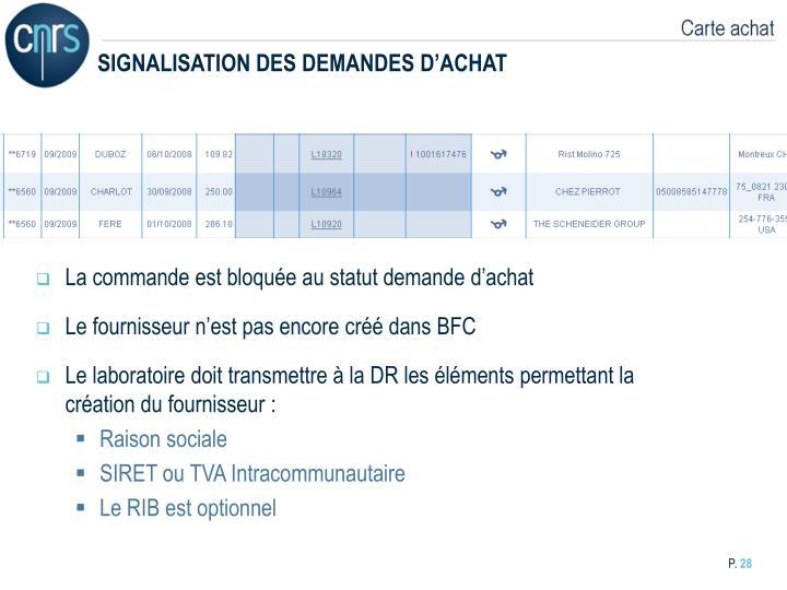 SIGNALISATION DES DEMANDES D'ACHAT