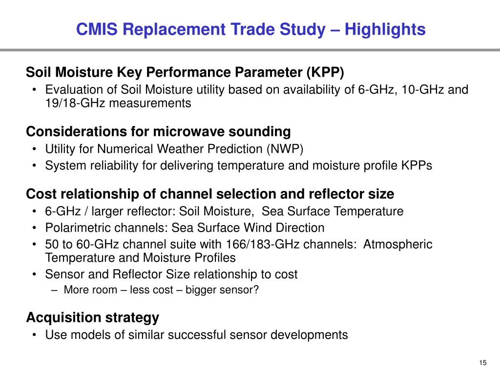CMIS Replacement Trade Study – Highlights