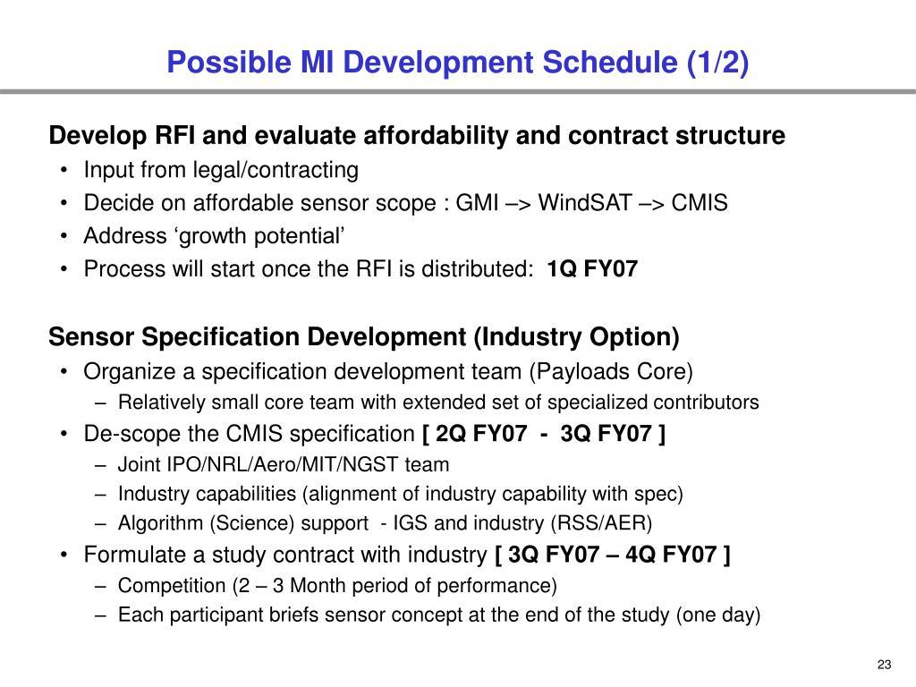 Possible MI Development Schedule (1/2)