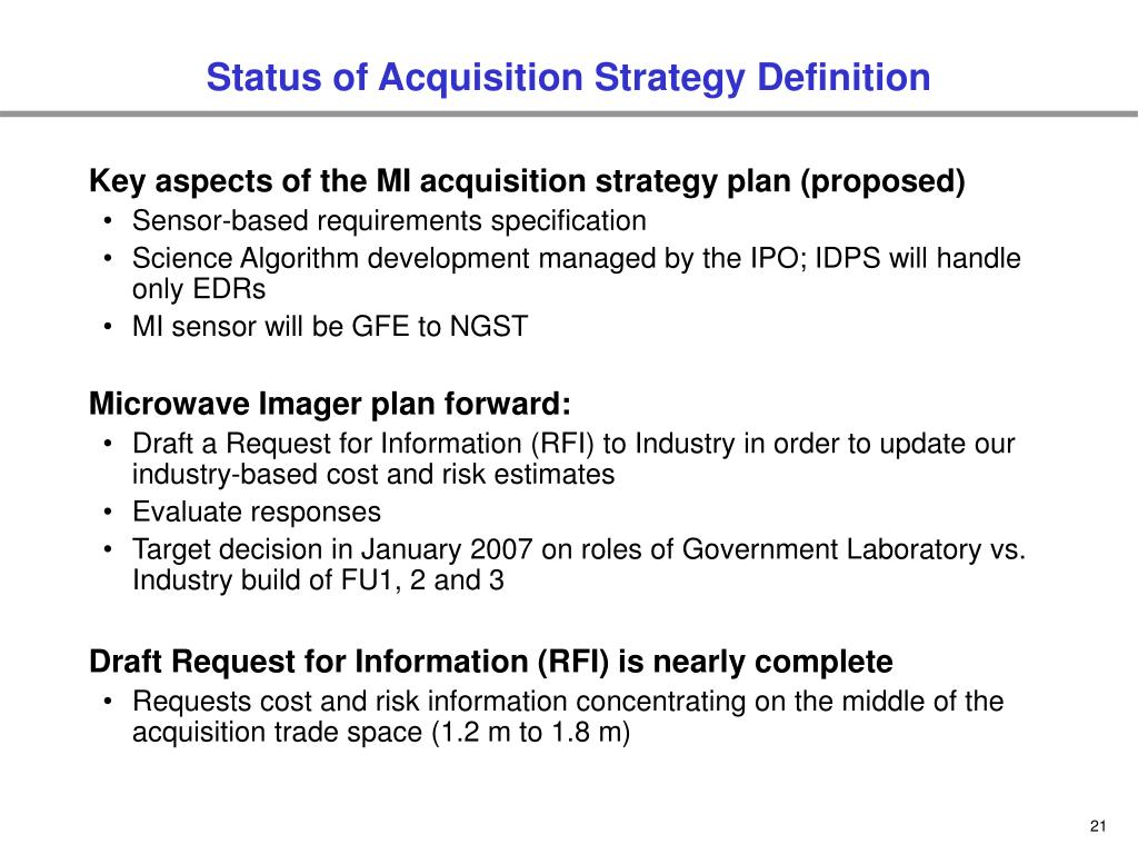Status of Acquisition Strategy Definition