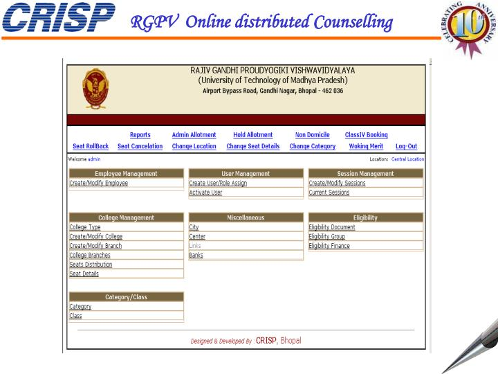 RGPV  Online distributed Counselling