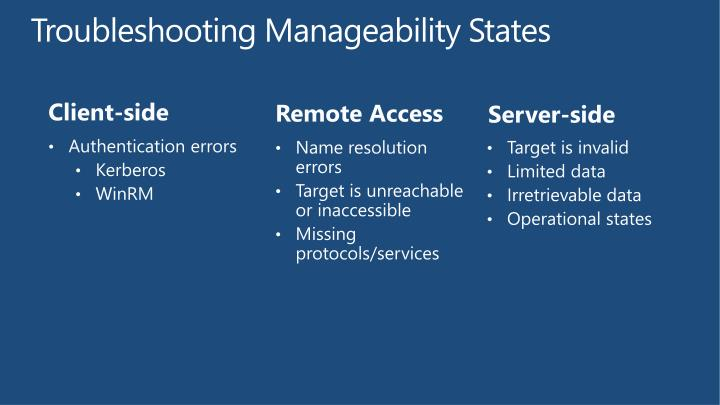 Troubleshooting Manageability States