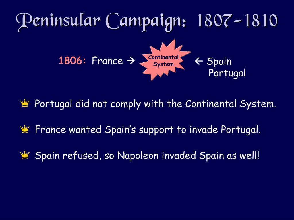 Peninsular Campaign:  1807-1810