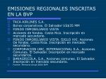 emisiones regionales inscritas en la bvp