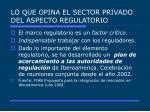 lo que opina el sector privado del aspecto regulatorio