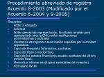 procedimiento abreviado de registro acuerdo 8 2003 modificado por el acuerdo 6 2004 y 9 2005