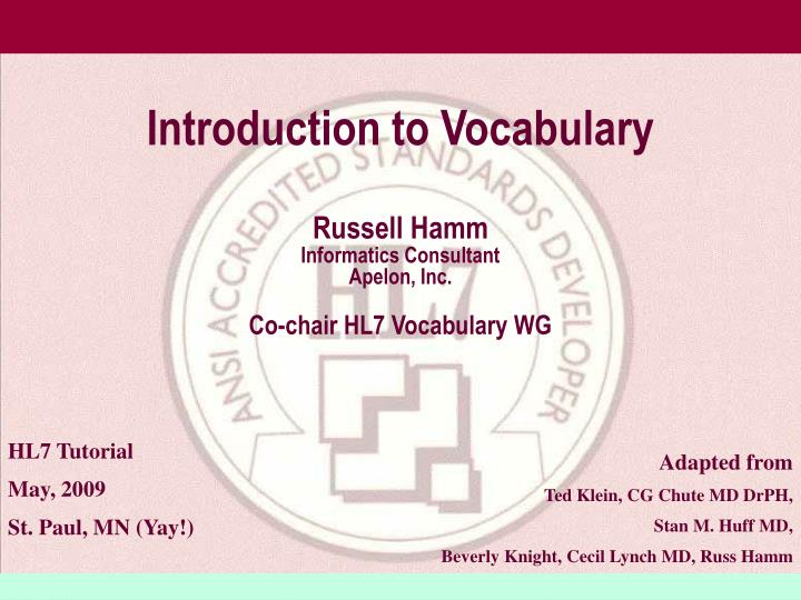 introduction to vocabulary n.