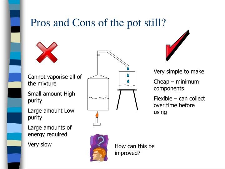 Pros and Cons of the pot still?