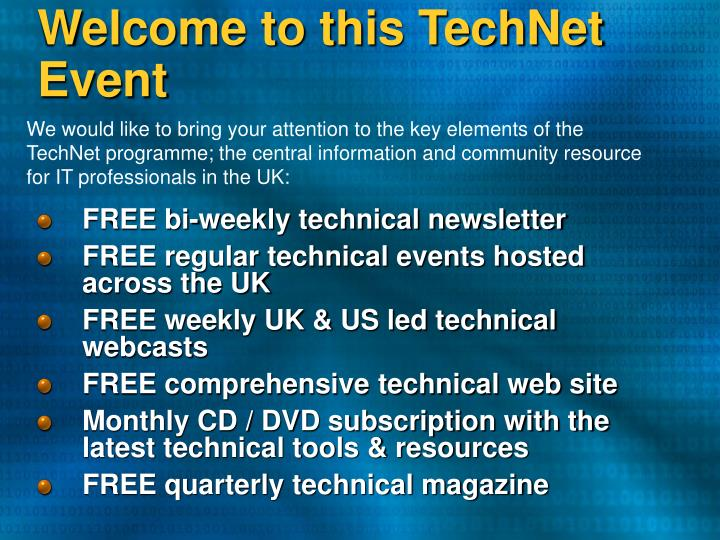 welcome to this technet event n.