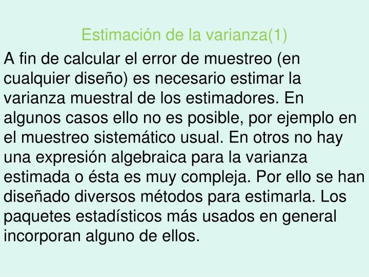 Estimación de la varianza(1)
