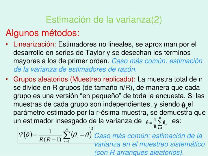 Estimación de la varianza(2)