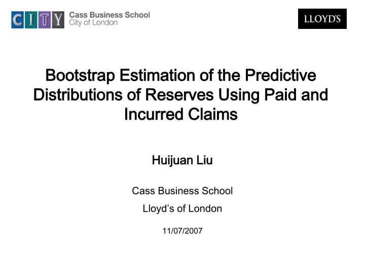 bootstrap estimation of the predictive distributions of reserves using paid and incurred claims n.