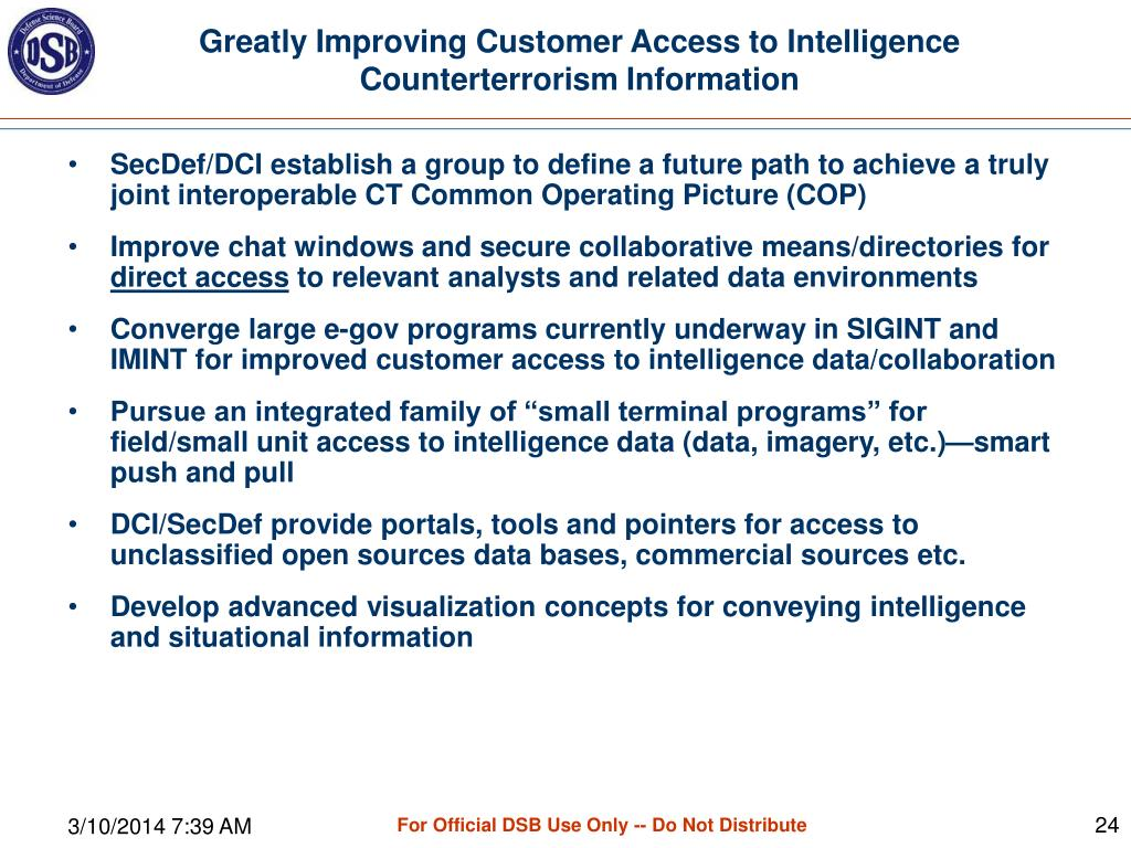 Greatly Improving Customer Access to Intelligence Counterterrorism Information