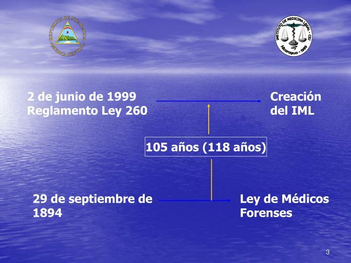 2 de junio de 1999 Reglamento Ley 260
