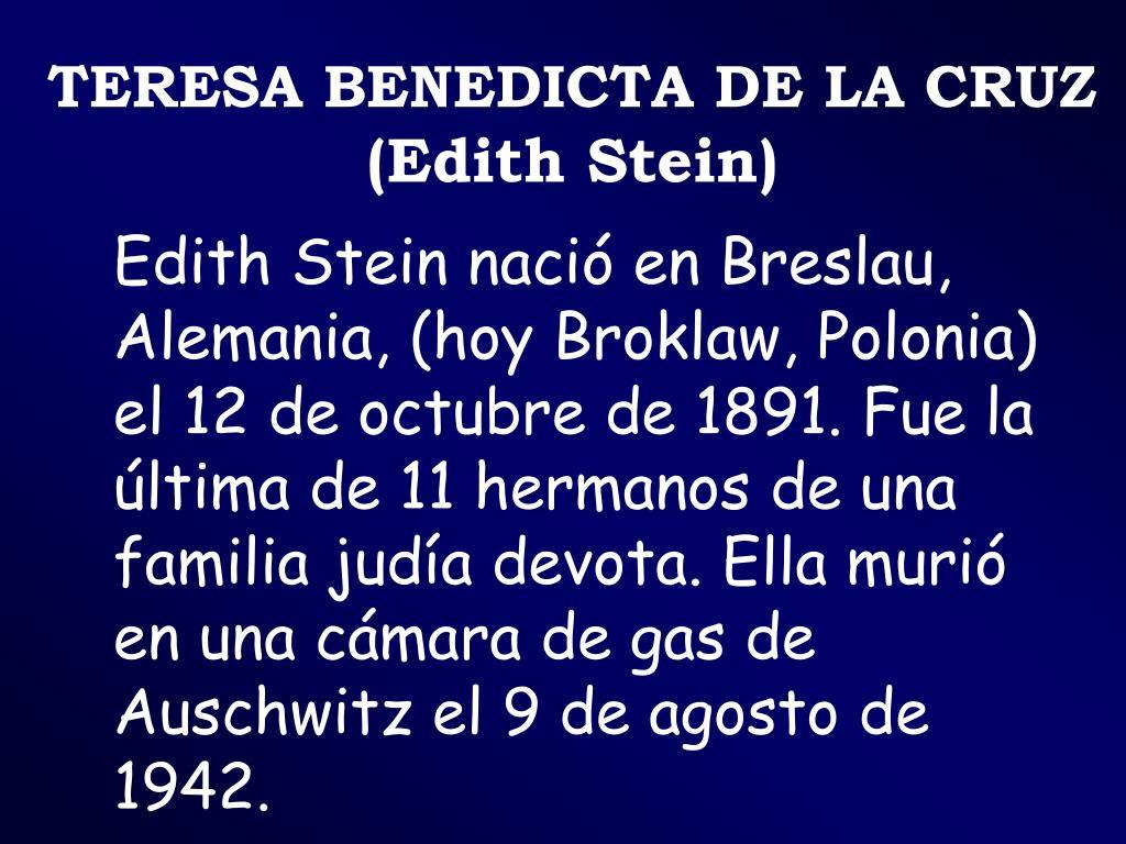 Ppt Santa Teresa Benedicta De La Cruz Powerpoint