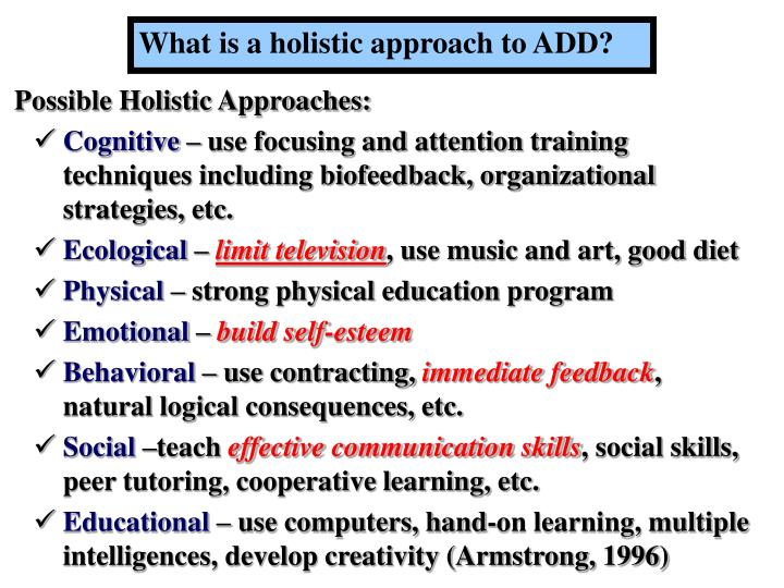 What is a holistic approach to ADD?