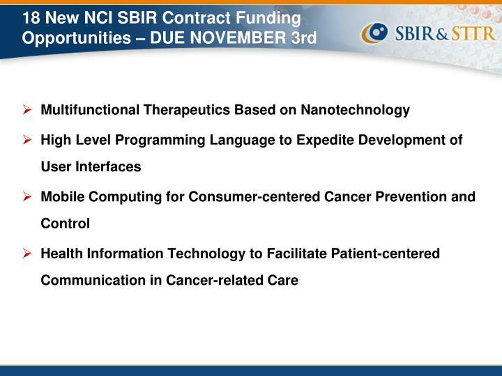 18 New NCI SBIR Contract Funding Opportunities – DUE NOVEMBER 3rd