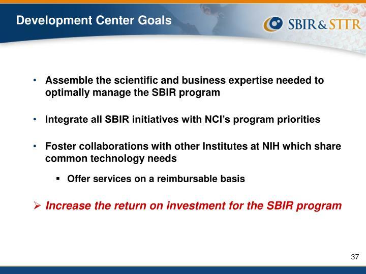 Development Center Goals