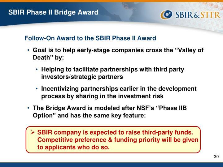 SBIR Phase II Bridge Award