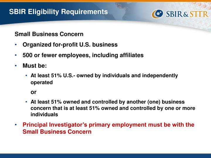 SBIR Eligibility Requirements