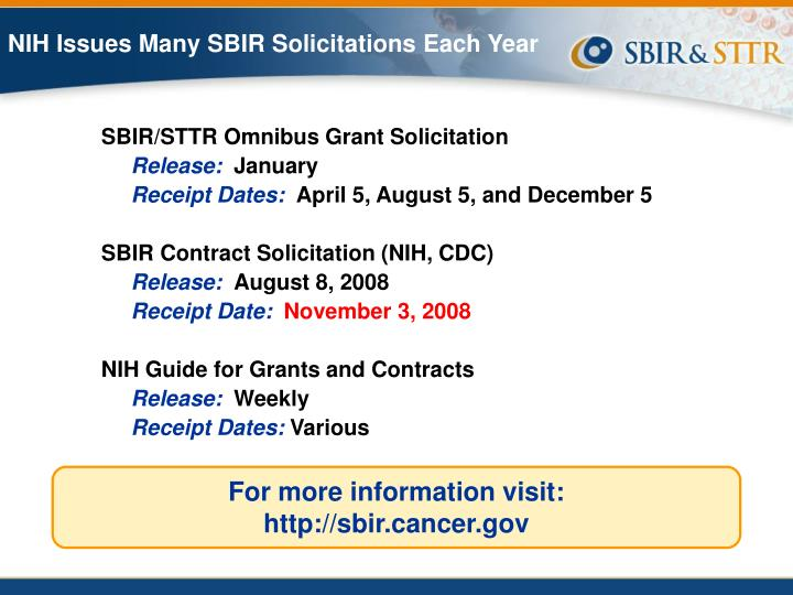 NIH Issues Many SBIR Solicitations Each Year