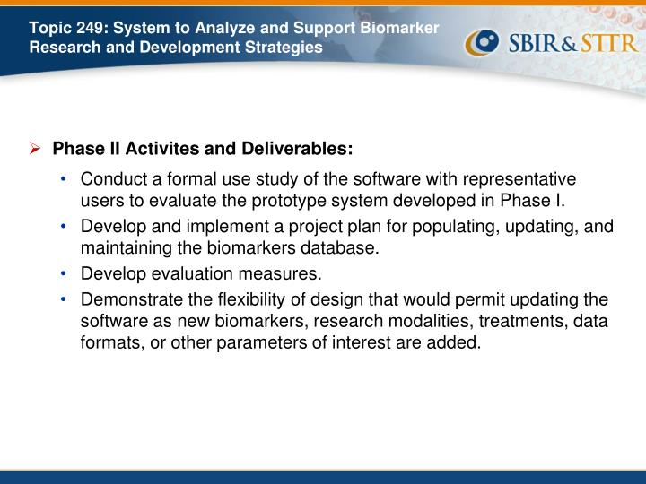 Phase II Activites and Deliverables:
