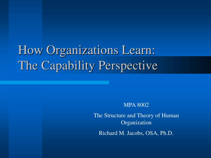how organizations learn the capability perspective n.