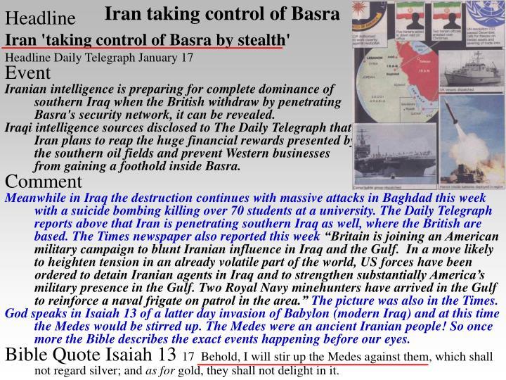 Iran taking control of basra