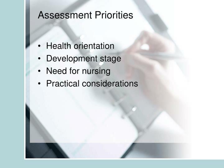 Assessment Priorities