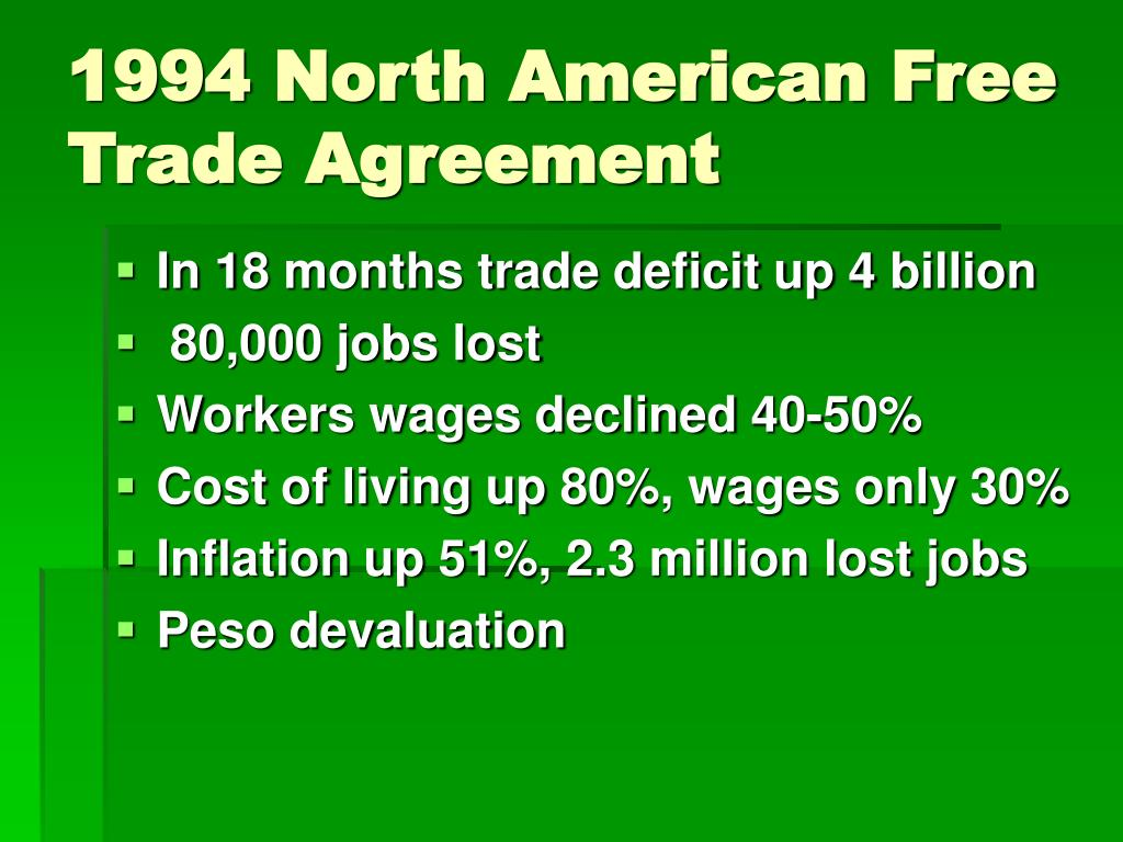 1994 North American Free Trade Agreement