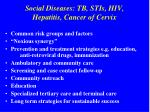 social diseases tb stis hiv hepatitis cancer of cervix