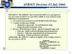 afrocc decision 15 july 2004