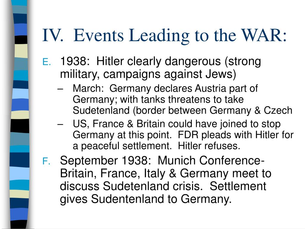 IV.  Events Leading to the WAR: