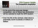 era program update the competitive acquisition14