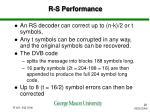 r s performance