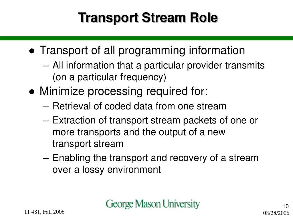 Transport Stream Role