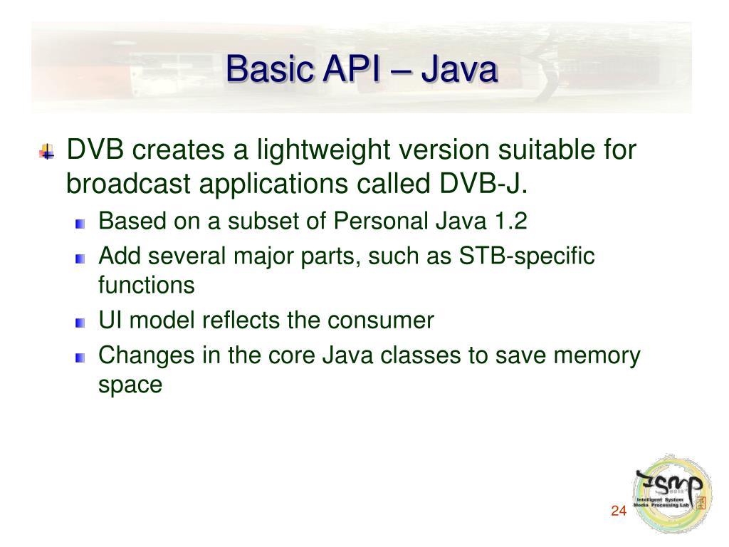 Basic API – Java