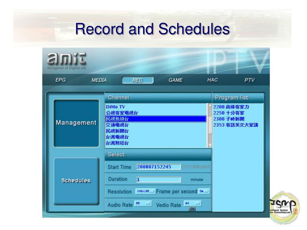 Record and Schedules