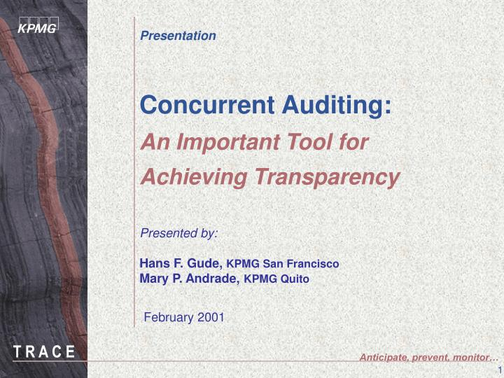 concurrent auditing an important tool for achieving transparency n.