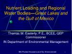 nutrient loading and regional water bodies great lakes and the gulf of mexico