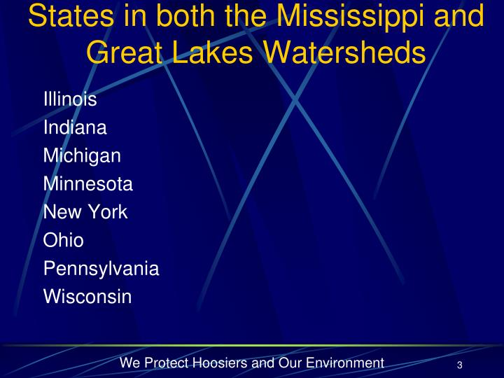 States in both the mississippi and great lakes watersheds