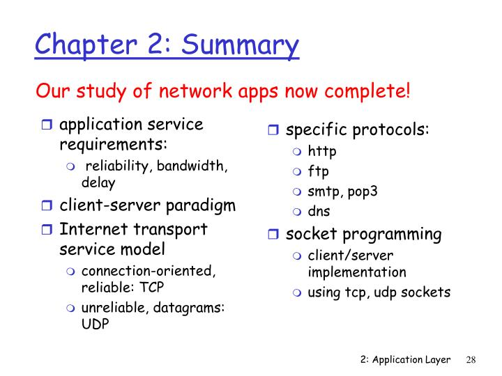 application service requirements: