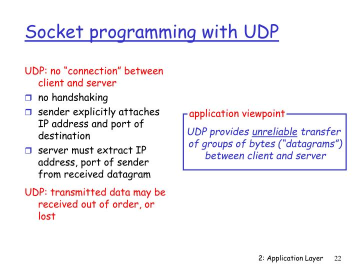 """UDP: no """"connection"""" between client and server"""
