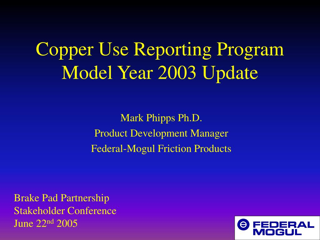 copper use reporting program model year 2003 update l.