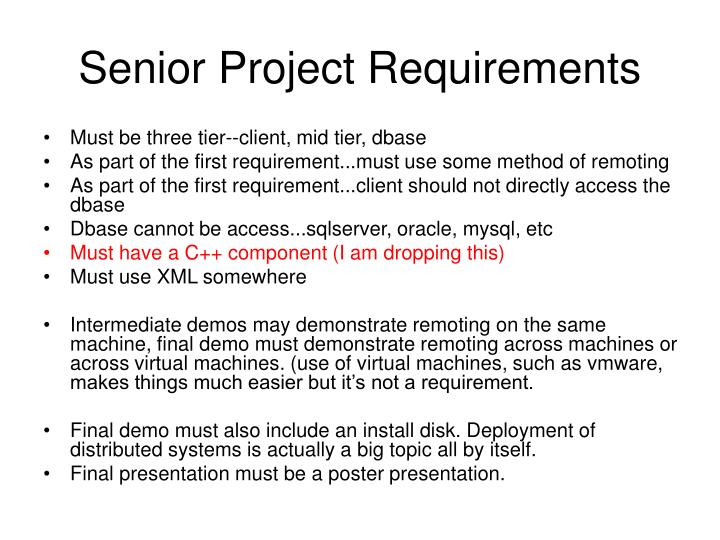 senior project requirements n.